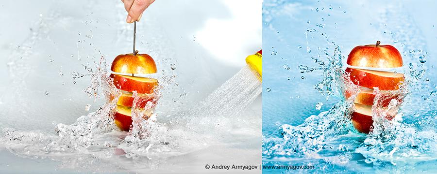 Как сделать фото фруктов в воде